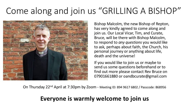 """""""Grilling a Bishop"""" – Thurs 22nd April 7:30pm Zoom"""